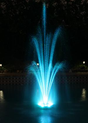 pond floating water fountain with 12 color changing led ring light
